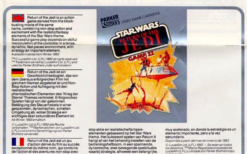 """Horror vacui: Wenn dir eine Seite zu leer, mach´ ein fiktives Spiel hinein, das ist nicht schwer. Das dritte Parker Bros.-Spiel zu Rückkehr der Jedi-Ritter verspricht mit seiner ungemein spannenden Packungsillustration Dinge, die vermutlich nie programmiert wurden - gängige Praxis im Handel, zum Leidwesen enttäuschter Spieler. """"Game I"""" war das """"Ewok Adventure"""", das zwar fertig entwickelt war, aber unveröffentlicht blieb. (Bild: Andreas Wanda)"""