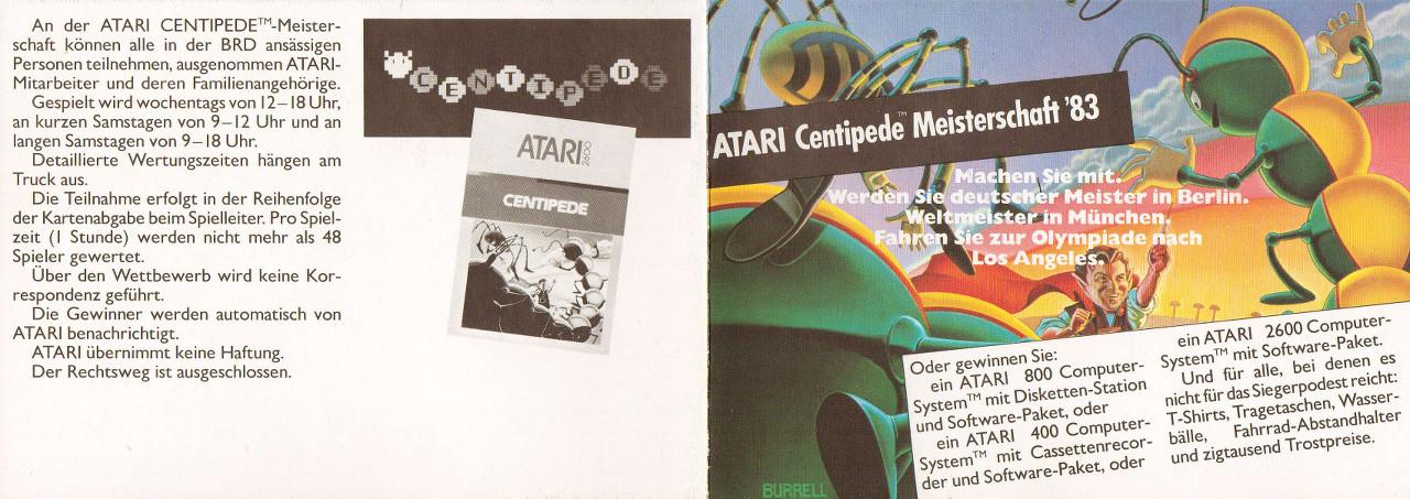 Der offizielle Atari Werbeflyer zur Centipede Weltmeisterschaft 1983. (Bild: Atari)