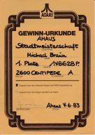 Die Original-Gewinnurkunde von Michael Braun zur Stadtmeisterschaft. (Bild: Michael Braun)