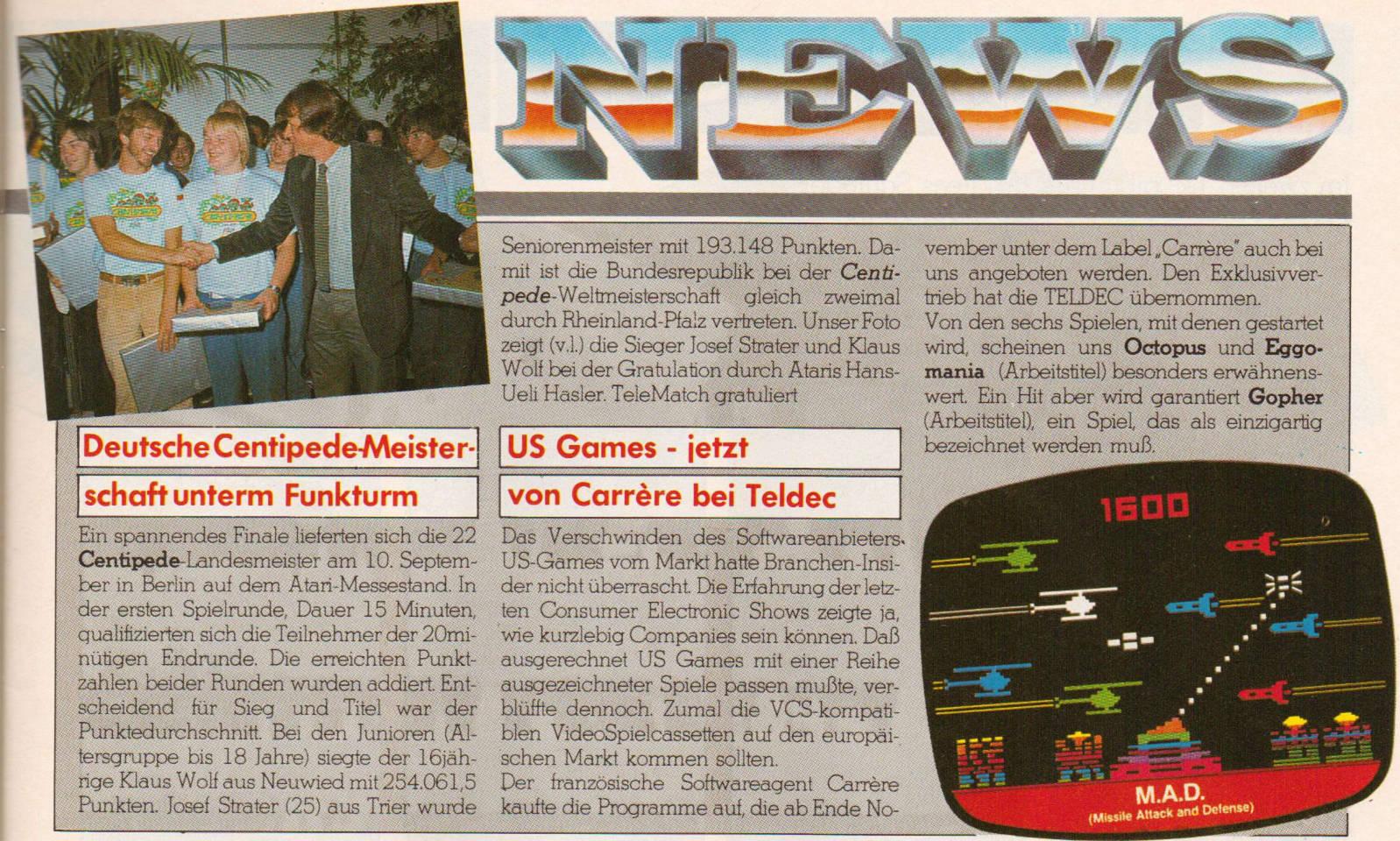 Ein News-Beitrag aus der Telematch zur Centipede-Meisterschaft (Bild: Marshall Cavendish)