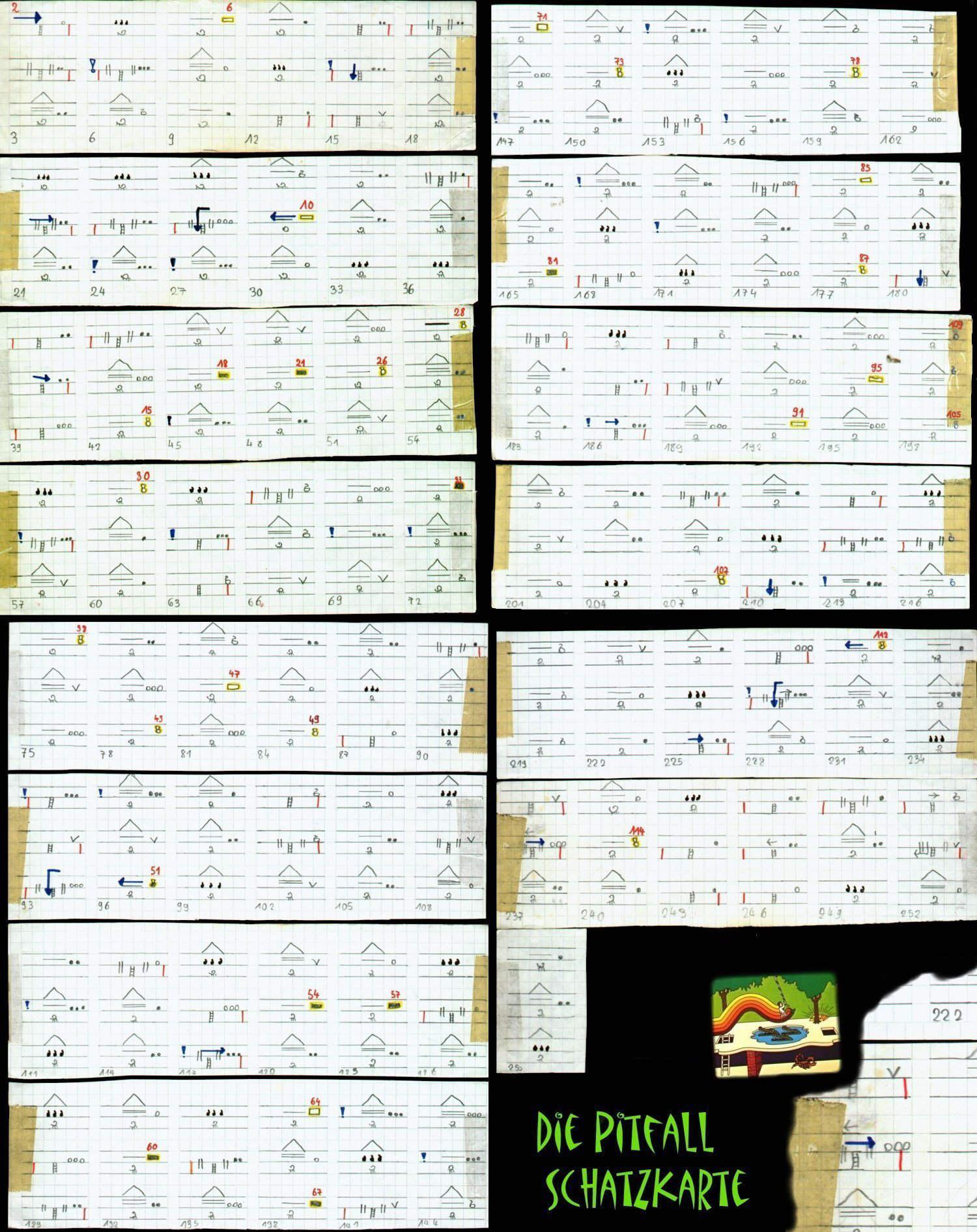 Die handgezeichnete Schatzkarte zu Pitfall! für das Atari VCS. (Bild: Guido Frank)