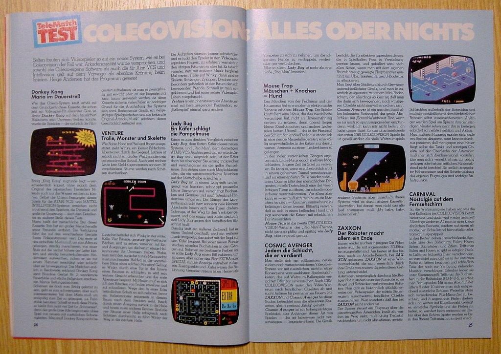 Tests von Helge Andersen zu Venture, Lady Bug und Carnival. Spieletests zu ColecoVision-Hits auf dem Prüfstand in der Telematch. (Bild: M. Cavendish)