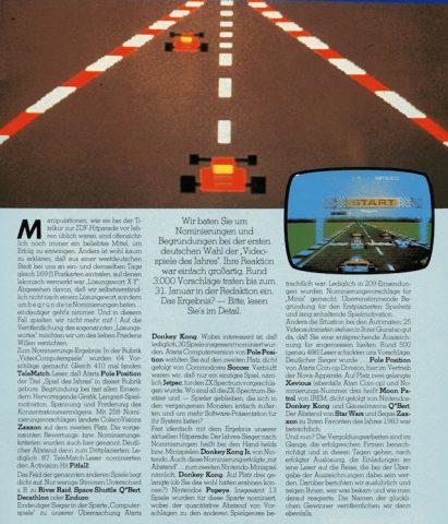 Telematch-Bericht von 1983: Die Videospiele des Jahres - 410 Stimmen für Pole Position aufgrund der Langzeit-Spielmotivation. (Bild: M. Cavendish)