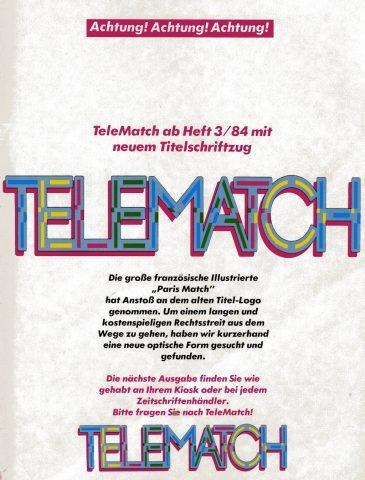 Hinweis auf die Änderung des Telematch-Logos, aufgrund eines möglichen Rechtsstreits mit der französischen Illustrierten Paris Match. (Bild: M. Cavendish)