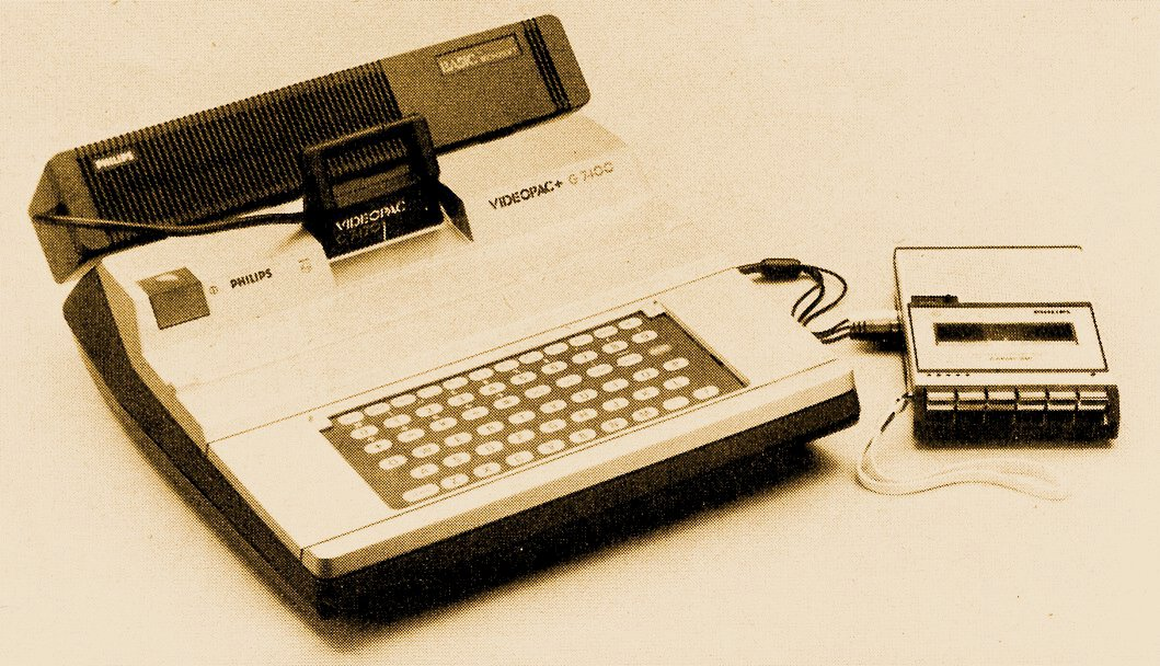 Das Philips G7400 mit BASIC-Interpreter und Kassettenrecorder. Erweiterungsmöglichkeiten für die Spielkonsole. (Bild: Vogel-Verlag)