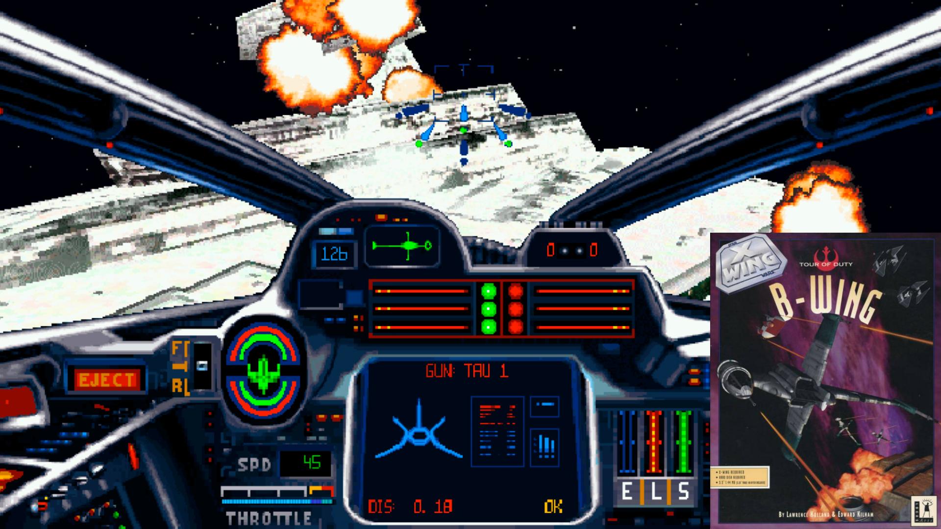 X-Wing, der große Konkurrent der Wing Commander-Reihe aus dem Hause LucasArts, setzte auf CPU- und Speicher-freundliche, ausgefüllte Polygon-Grafik. Vom 286er bis 486er konnte jeder PC User das spannende Weltraumepos spielen. Die Mission Disk B-Wing spendiert den Rebellen-Piloten den titelgebenden, schwer gepanzerten Bomber. Harte Zeiten für Sternenzerstörer. Und Studienabschlüsse. (Bild: EA)