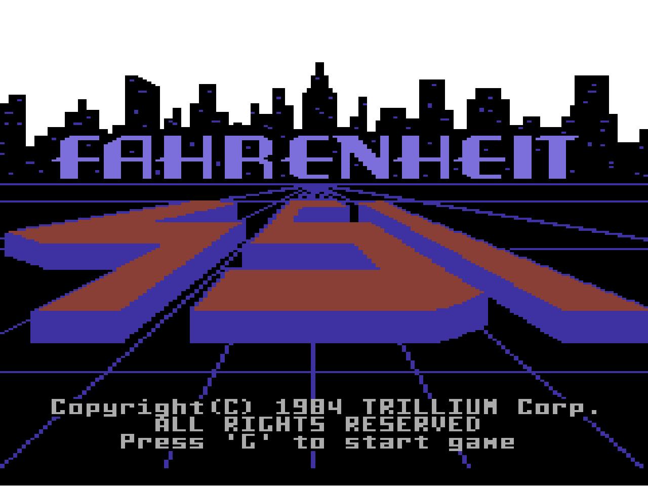 Fahrenheit 451, Startbildschirm auf dem C64. (Bild: Trillium Corp.)