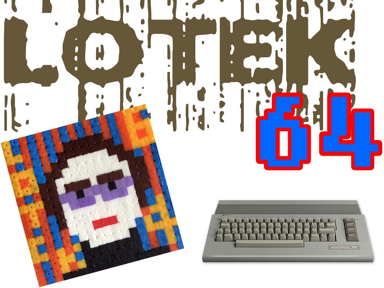 Logoentwürfe und Pixelportrait des Lotek64-Machers. (Bild: Georg Fuchs / André Eymann, der C64 stammt von René Achter)