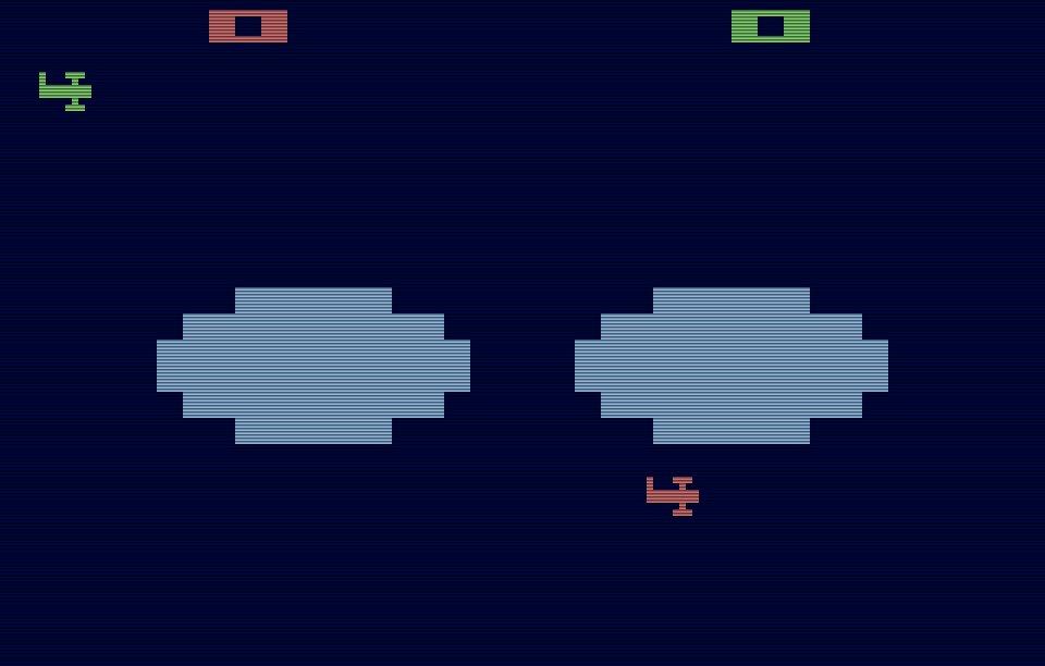 Combat für das Atari VCS von 1977 war ein perfekter Spielspass für zwei Spieler. Der Screenshot zeigt die Biplanes-Variation, bei der die beiden Kontrahenten Flugzeuge fliegen, anstatt Panzer zu fahren. (Bild: Atari)