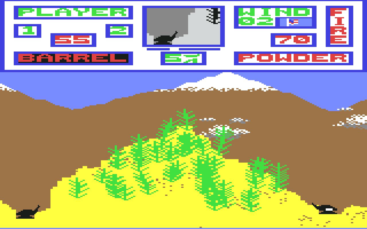 Artillery Duel auf dem C64: Schlichte Grafik, großer Spielspaß. Im Bild ist der rechte Spieler am Zug. Der Gegenwind ist mäßig. Viel war bei Artillery Duel eigentlich nicht zu tun. Über Barrel (= Rohr) wurde der Winkel der Kanone eingestellt (hier 55 Grad) und mit Powder (= Pulver) die Schussstärke. 70 scheint mir hier zu viel des Guten zu sein. Aber wer weiß; ich habe es lange nicht mehr gespielt. Das linke Geschütz scheint den besseren natürlichen Schutz zu genießen und dadurch im Vorteil zu sein. Die zufallsgesteuert aufgebaute Landschaft wechselte jedoch nach jeder Runde, so dass sich Vor- und Nachteile der Umgebung ausgeglichen haben. (Bild: Xonox)