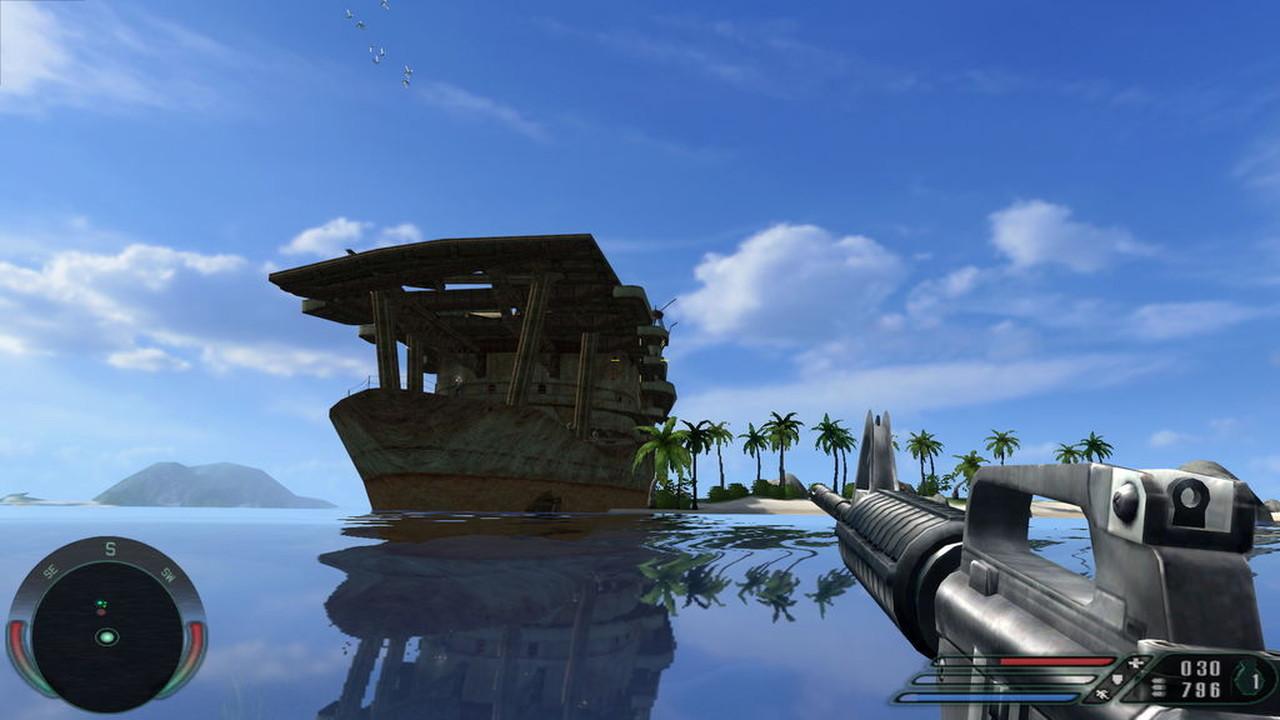 """Far Cry 1. An das Schiffswrack und die tollen Wasserspiegelungen kann ich mich noch gut erinnern. Das Wrack sieht sehr geheimnisvoll aus und ich wollte natürlich drinnen nach dem """"Rechten"""" sehen, was ich auch tat. In Far Cry gab es noch so manch andere Reliquie aus dem 2. Weltkrieg zu entdecken. Und überhaupt konnte man in Far Cry eigentlich überall hin. (Bild: Ubisoft)"""
