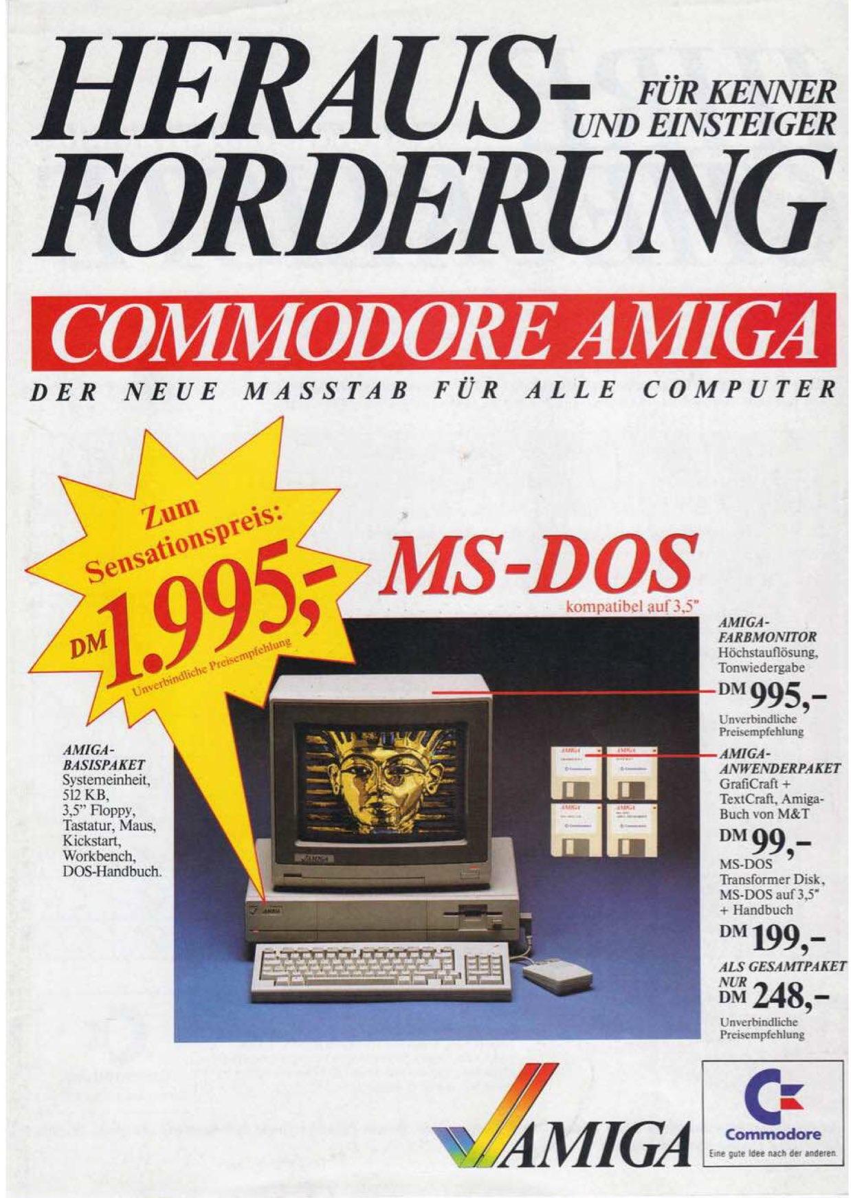 Nachdem der Preis für den Amiga 1000 auf 1.995,- gefallen war, habe ich sofort zugegriffen. (Bild: Commodore Werbung)