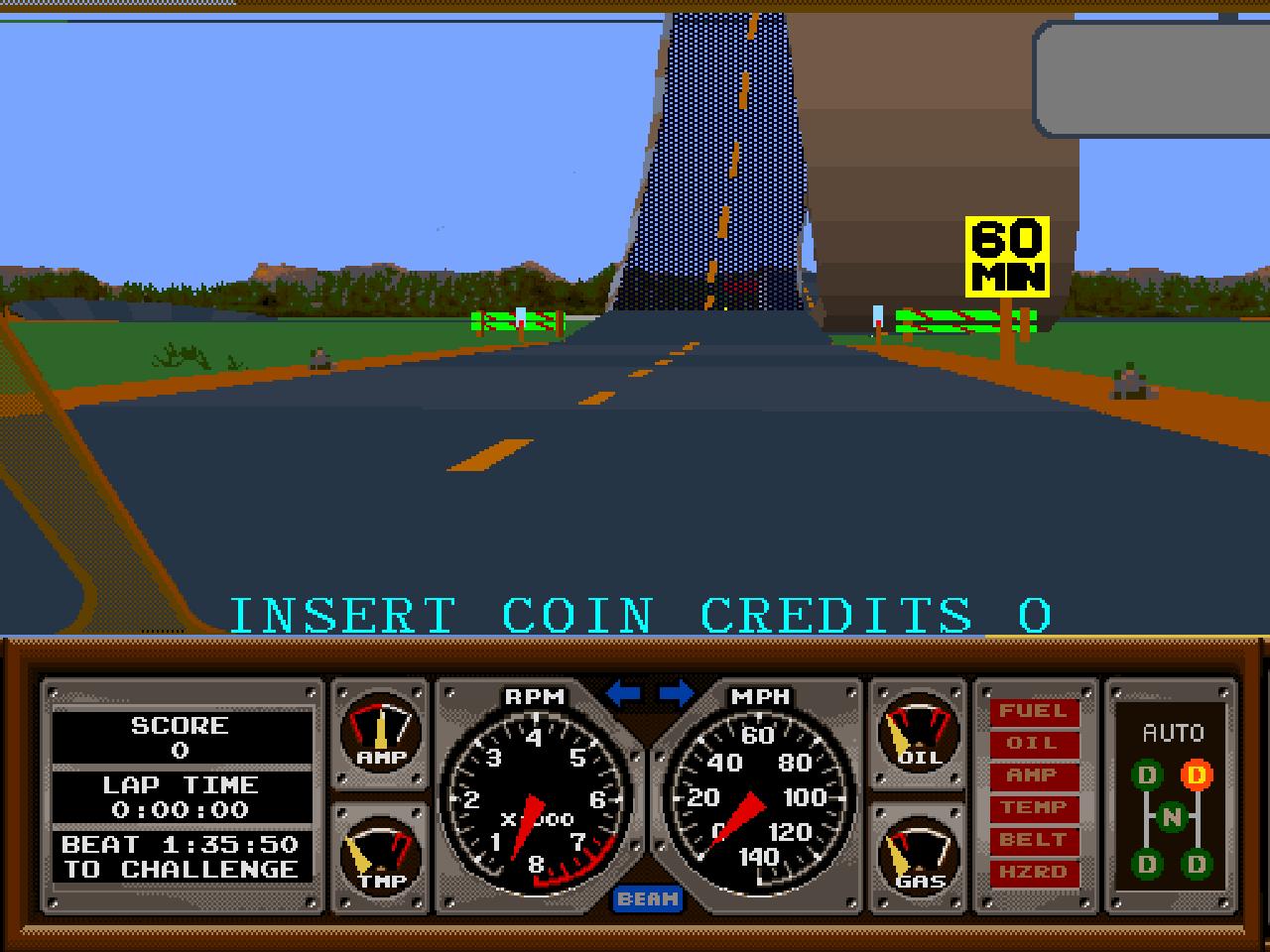Aufgrund der beeindruckenden 3D-Polygone-Engine wurde Hard Drivin` zum Vor- und Wegbereiter für Namcos spätere 3D-Arcadesimulationen. (Bild: Atari)