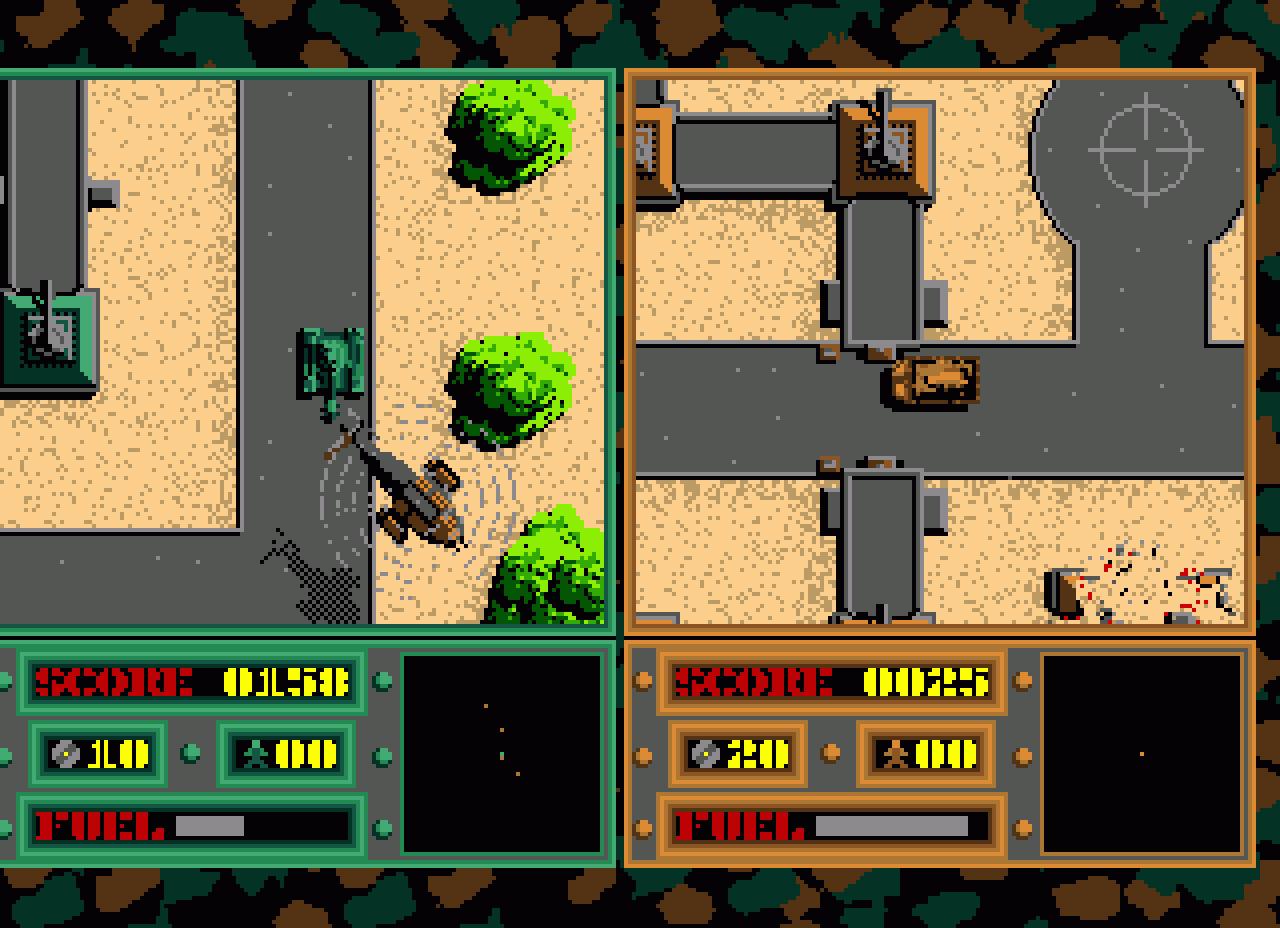 Firepower auf dem Amiga aus dem Jahr 1987. Im Bild ist der Split-Screen-Modus zu sehen. Wir haben aber lieber zwei Amigas über ein Nullmodem-Kabel verbunden. Firepower war zeitweise indiziert. Man konnte mit dem Panzer Menschen überfahren, wie später auch bei GTA 1. Das besondere an Firepower war neben der Draufsicht das Spielprinzip: Capture the Flag! (Bild: Silent Software)