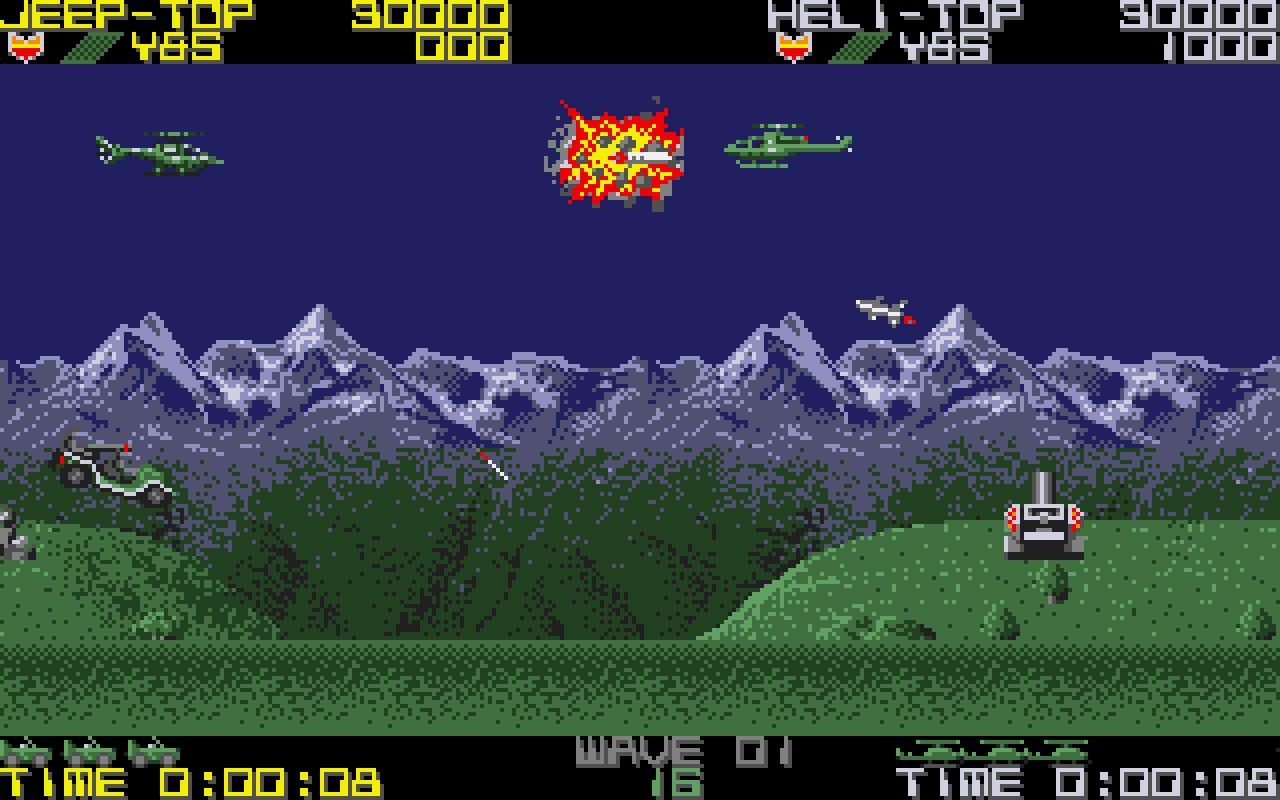 """Im Bild gut sichtbar: Auf dem Amiga wurde zu zweit gespielt. Einer hat den Heli gesteuert, der andere den Buggy. (Bild: Tecmo, Sammy)"""""""