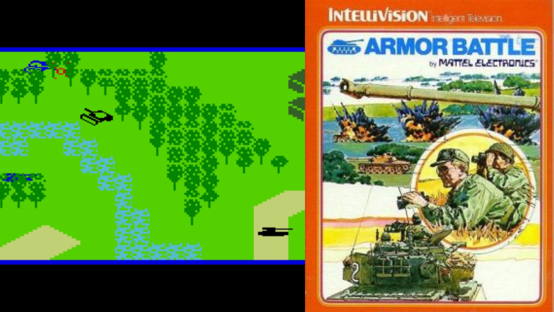 Die 1979 von Mattel Electronics für Intellivision veröffentlichte Armor Battle erzählt grafisch klar dargestellte Panzerschlachten, dem Spieler selbst wird von der Packung die bevorzugte Spielpose und -kleidung vorgegeben (Fernglas not included). (Bild: Andreas Wanda)