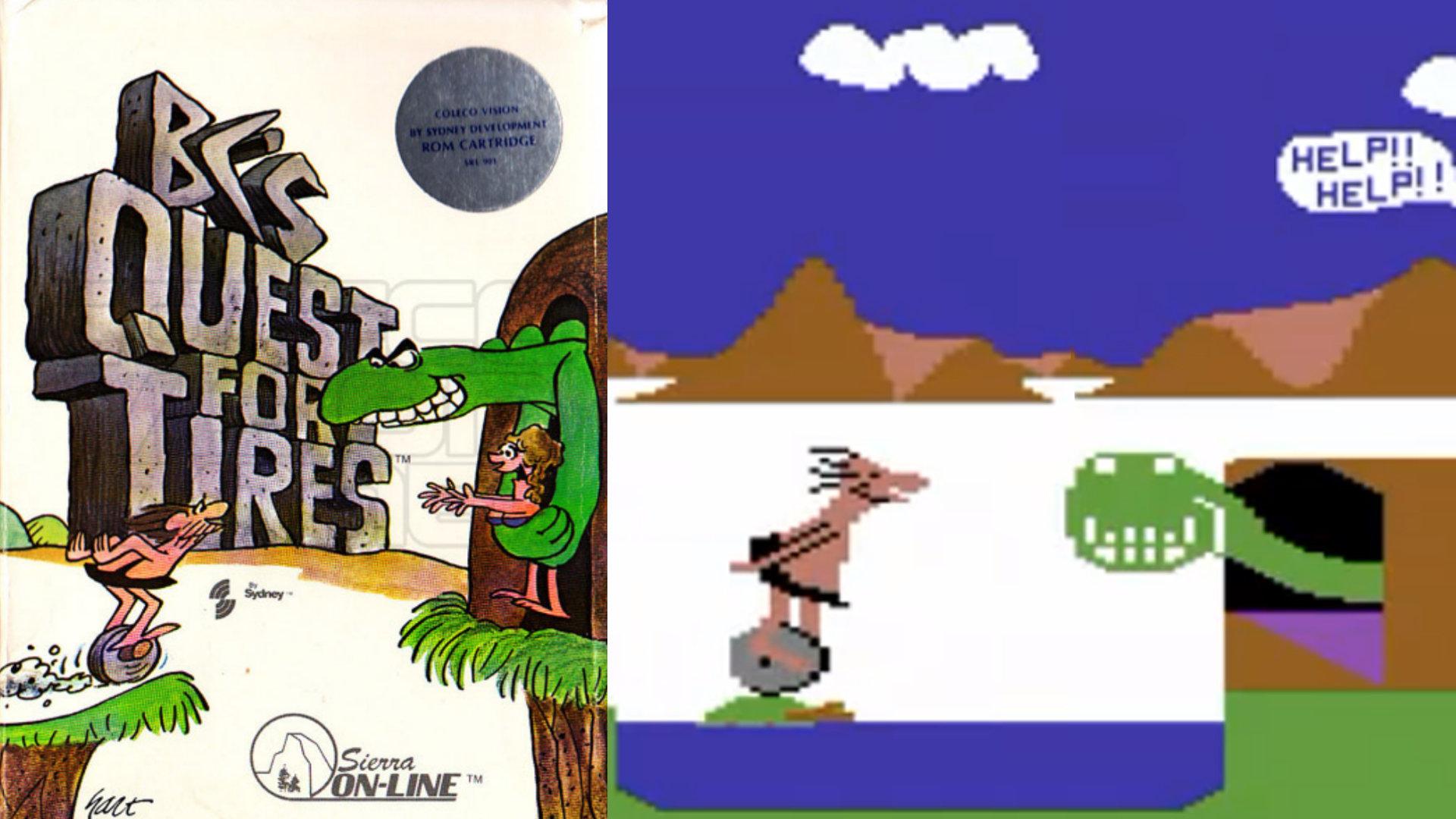 Ungewöhnliche große Spielfiguren tricksten in B.C.'s Quest for Tires die beschränkte Auflösung der Rechner der frühen 1980ern aus, um die auf der Schachtel angedeutete humorvolle Handlung ins Spiel selbst übertragen zu können. (Bild: Andreas Wanda)