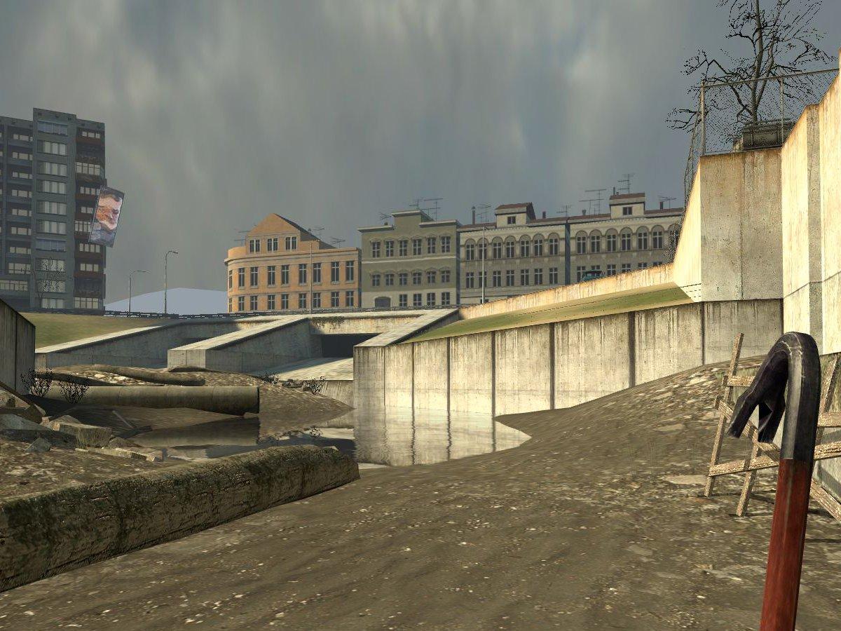 Ein Blick auf Straßenzüge von City 17 aus der Deckung der Kanal-Route. (Bild: André Eymann)
