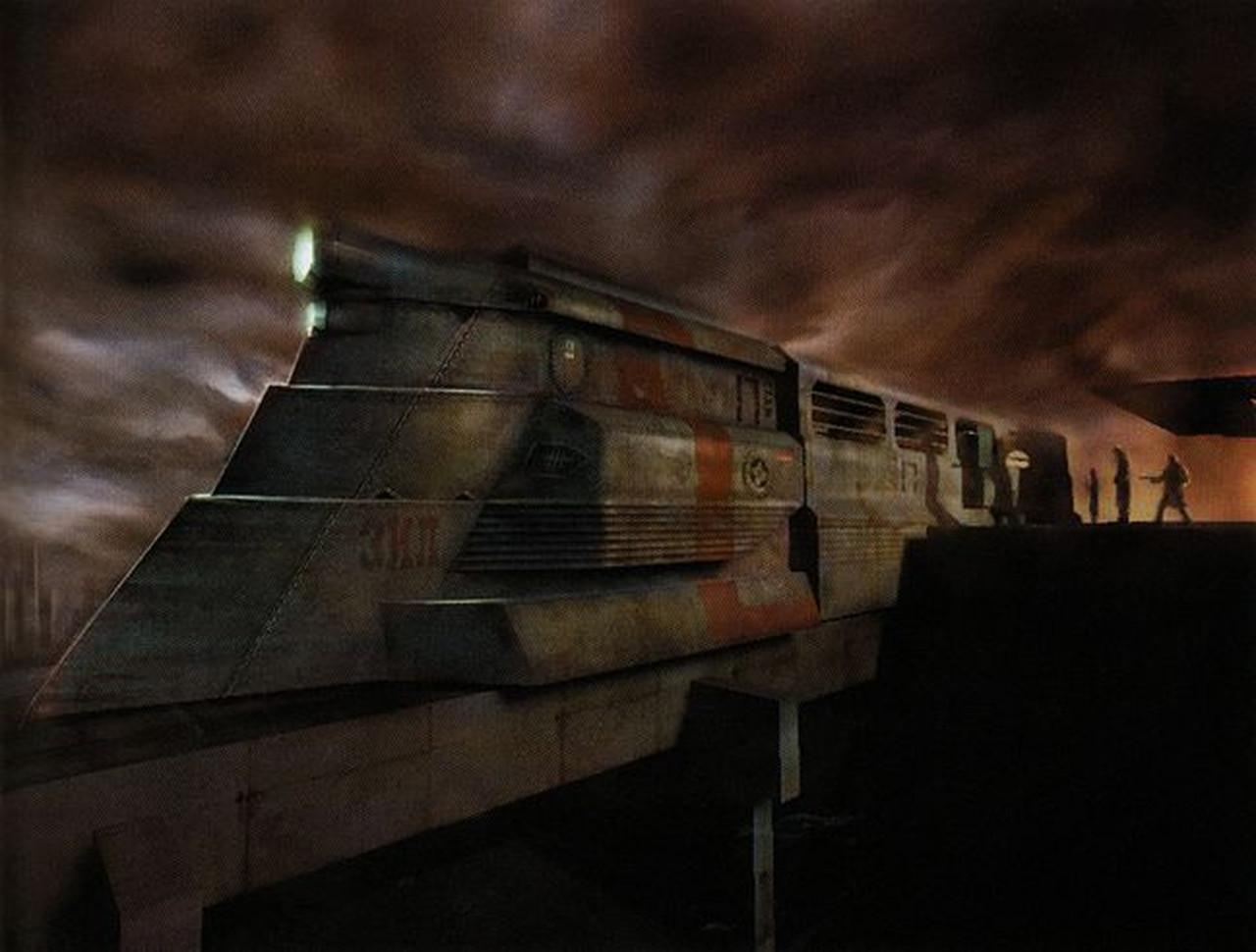 Konzeptzeichnung eines Razor Train. Am Kopf des Zuges ist ein drei Zeichen langes Wort zu lesen: es ist der Name eines russischen Lokomotivenkonstrukteurs. (Bild: Half-Life 2: Raising the Bar)