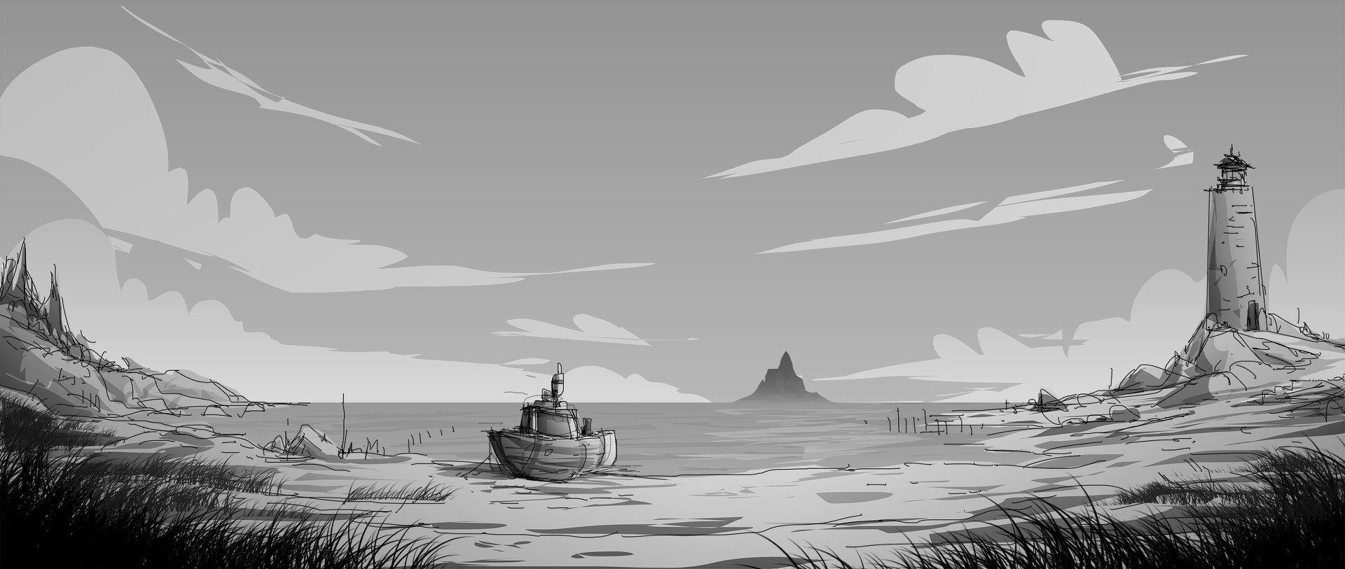 Concept art / Beach aus Unforeseen Incidents. (Bild: Backwoods Entertainment)