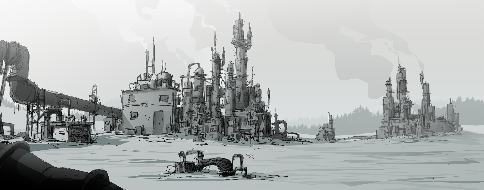 Concept art / Oil aus Unforeseen Incidents. (Bild: Backwoods Entertainment)