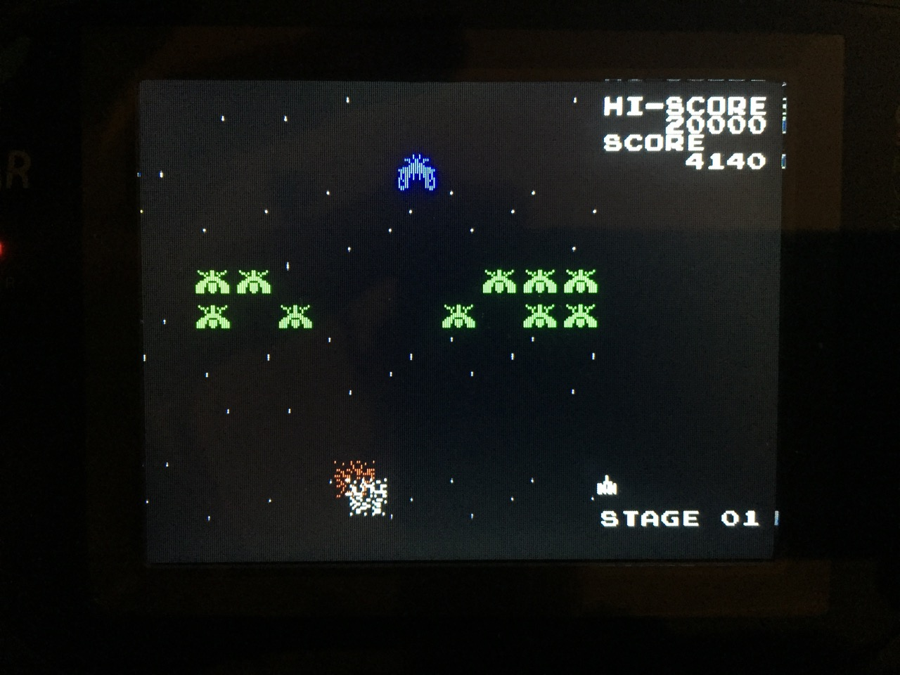 Screenshot von Galaga auf dem Game Gear mit LCD Mod. (Bild: André Eymann)