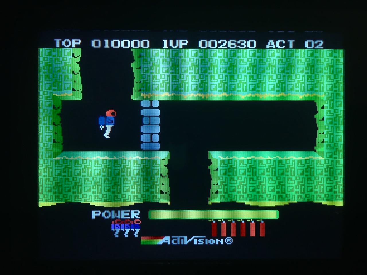Screenshot von H.E.R.O. auf dem Game Gear mit LCD Mod. (Bild: André Eymann)