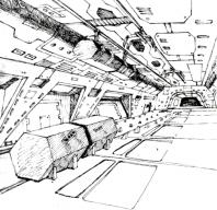 """Solche Illustrationen und Informationen haben dazu beigetragen eine glaubwürdige uns stimmige Welt in meiner Fantasie zu erzeugen. Aus dem Handbuch: """"Ein Teil des Laderaums eines Interstellaren Frachters der Anaconda Klasse. Es ist der größte bekannte Frachter mit einer Ladekapazität von 750 Tonnen, der vor allem auf sicheren Handelsrouten eingesetzt wird."""" (Bild: Firebird)"""