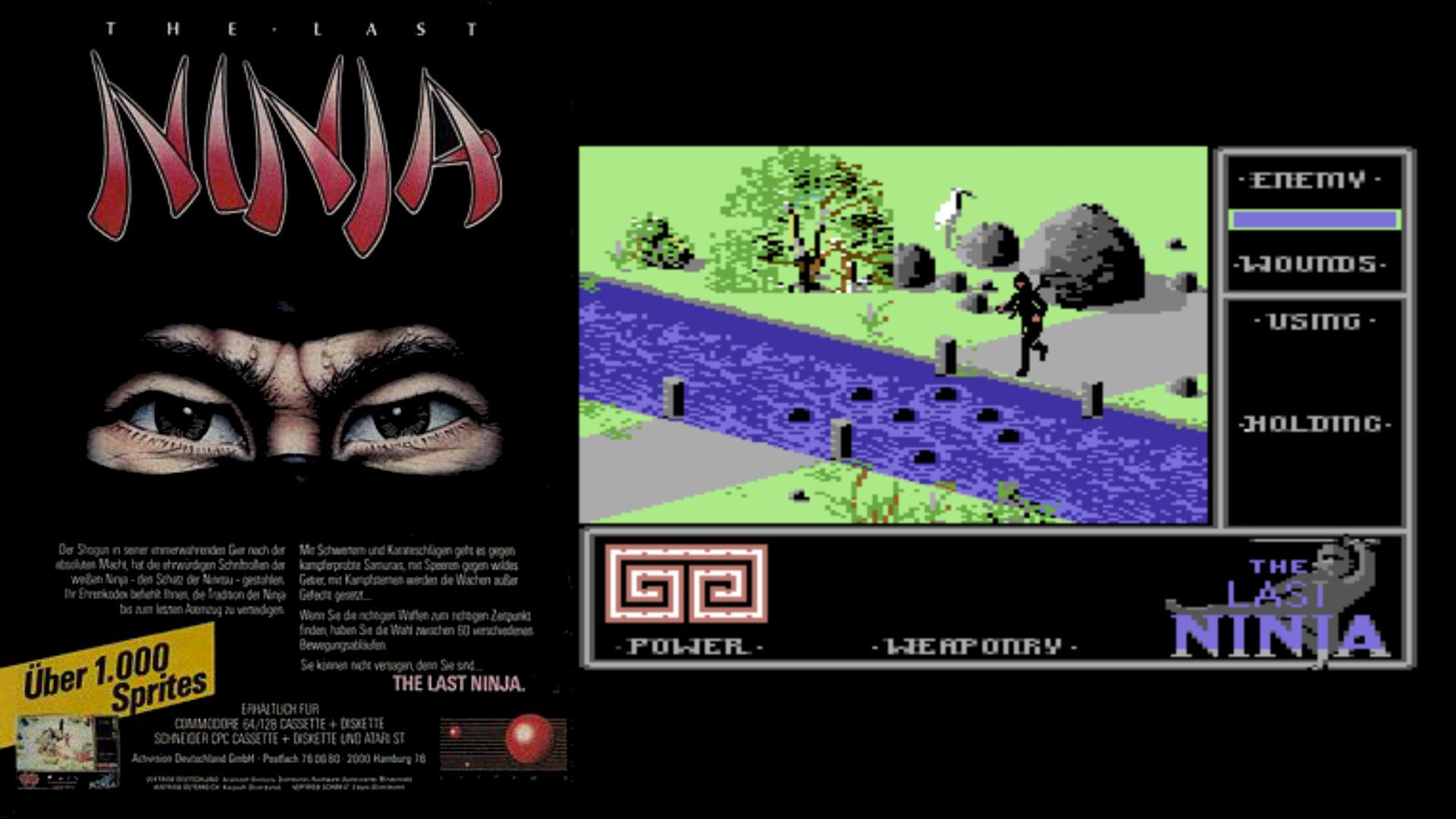 1.000 Sprites, 1.000 Tode: die überaus auffällige Vermarktung von The Last Ninja war ein Vorbote moderner narrativer Spiele - und 1.000 Frusterlebnisse, denn ohne Speicherfunktion und gewitzte, pixelgenaue Hüpfkunststücke wurde aus dem letzten Ninja ein Beitrag zur Dunkelziffer fordernder Spiele. (Bild: Andreas Wanda)
