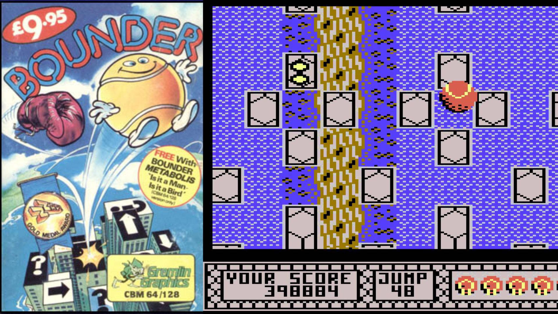 Bounder von Gremlin Graphics war ein schönes, aber schweres Spiel. Diskmonitor-Maestro Boris Schneider-Johne fand für seinen Happy Computer-Test heraus, dass spätere Stufen praktisch unschaffbar waren. Permadeath für 9.95 Pfund eben. (Bild: Andreas Wanda)