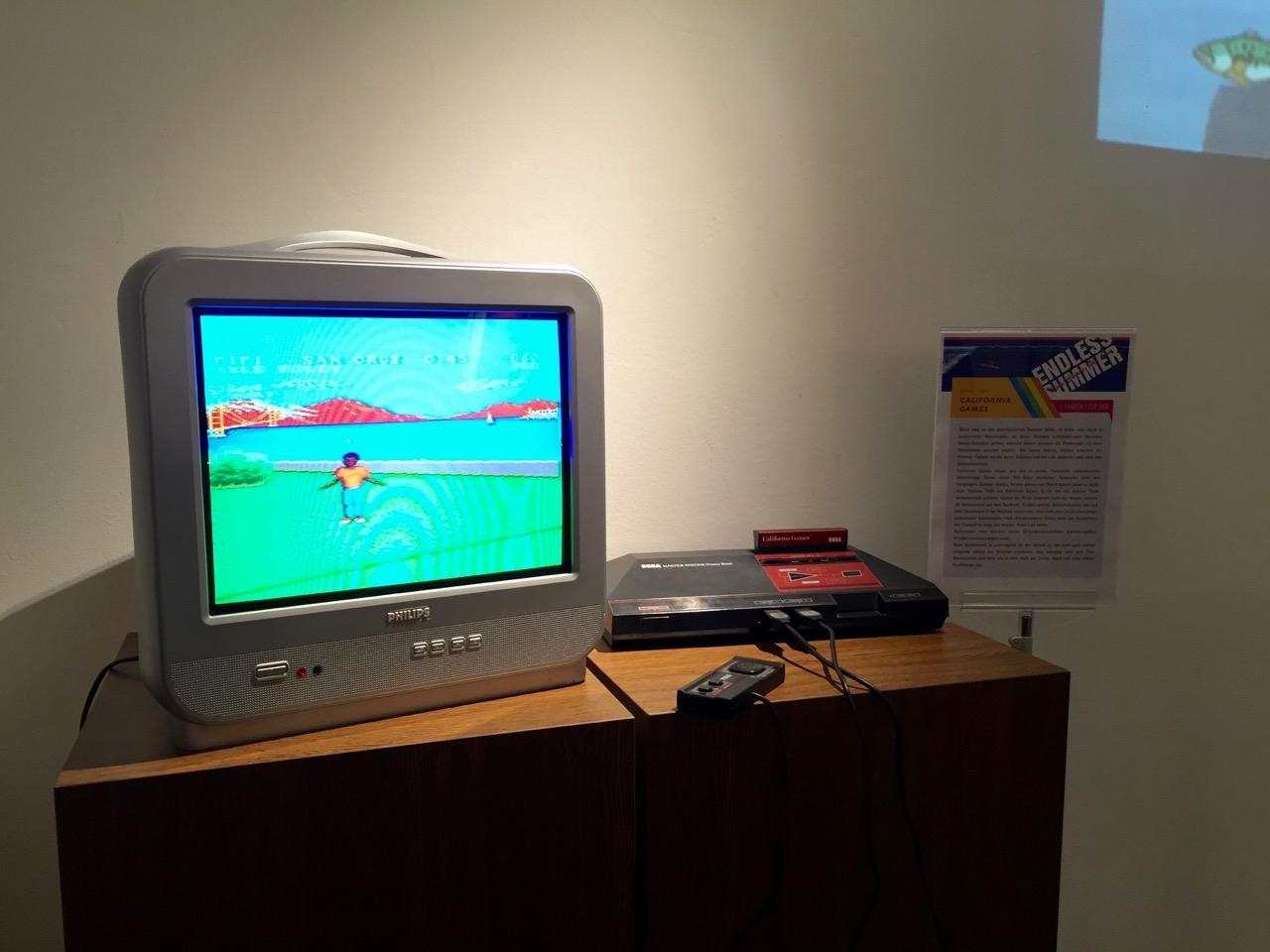 """California Games auf dem SEGA Master System im Rahmen der """"Endless Summer"""" Sonderausstellung im Sommer 2015. (Bild: André Eymann)"""