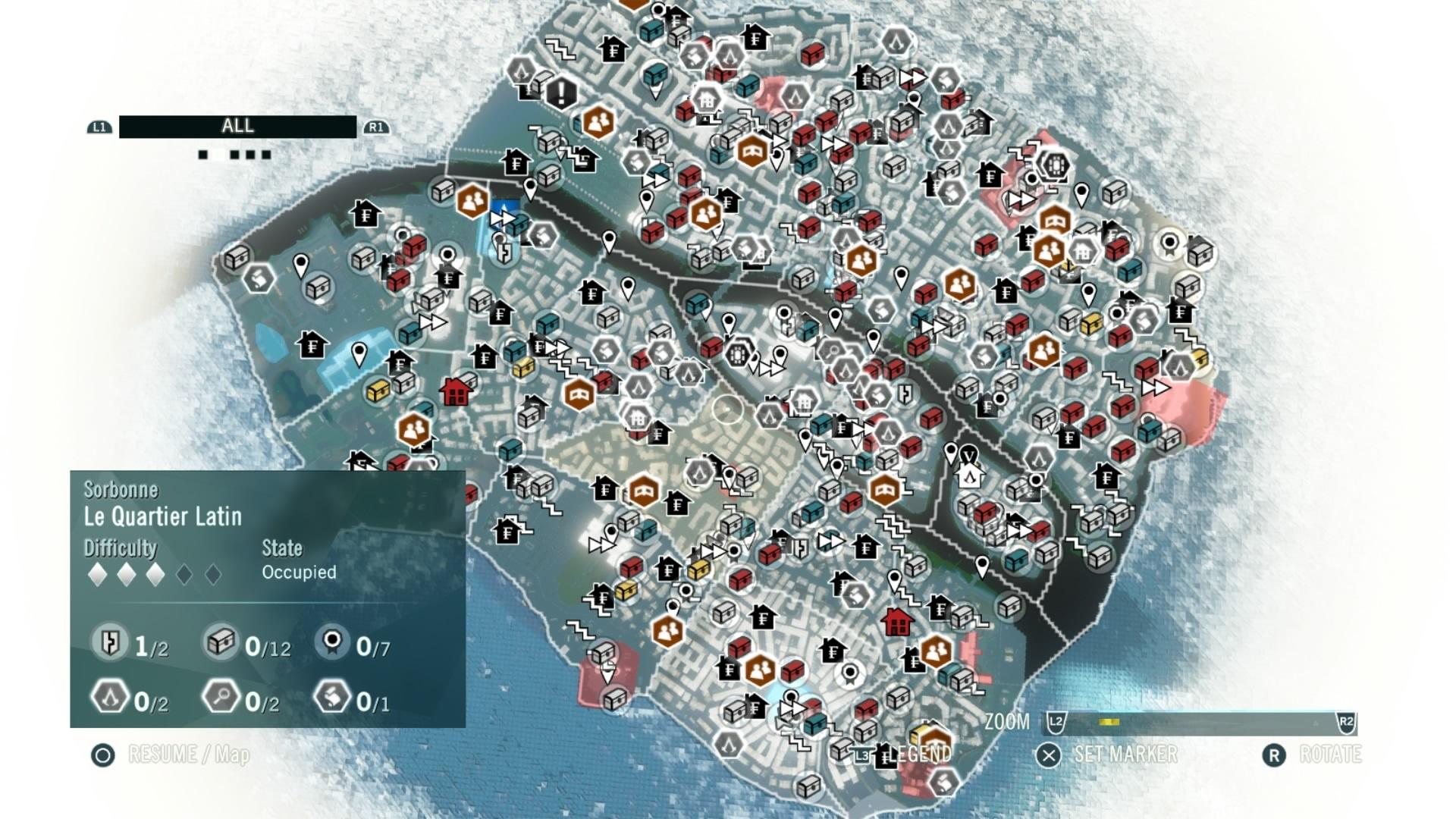 Segen oder Fluch? Die Ubisoft-Formel in Assassins´s Creed Unity: Ganz schön viel los auf der Karte. Da soll/muss ich überall hin? (Bild: Ubisoft)