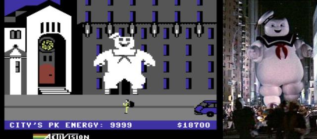 David Cranes außergewöhnlich gut gelungene Filmadaptation von Ghostbusters - Die Geisterjäger aus dem Jahr 1984 illustriert sehr schön, wie effektiver gestalterischer Kompromiss angesichts technischer Unzulänglichkeiten ein Produkt hervorbrachte, das der wilden Stimmung des Originals vollkommen gerecht wurde. Vom Spielverlauf derart vereinnahmt, waren sich die Spieler gewiß nicht in dem Maße der einzelnen Pixel bewusst, wie wir es heute sind, sondern fühlten sich ganz im Gegenteil Auge in Auge mit dem auf lächerliche Weise gefährlichen Erzfeind des Films, dem liebenswerten Marshmallow Mann. (Bild: Activision/Sony Pictures)
