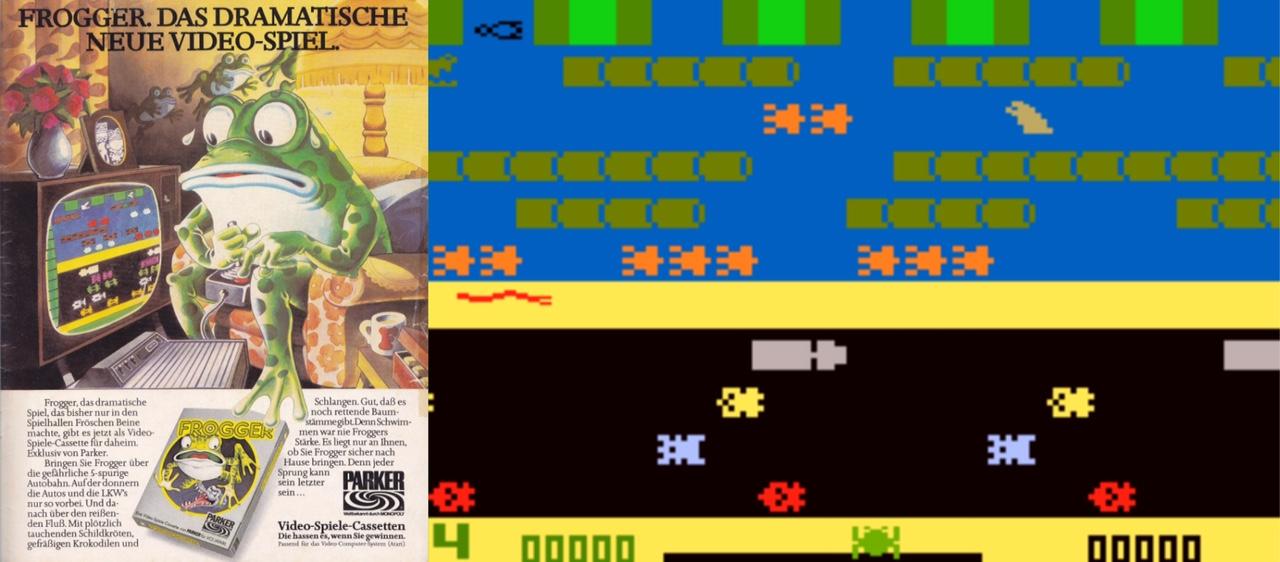 Hilf' dem Frosch Frogger, sicher zu seiner Familie zurückzukehren: Während das Spielgeschehen bunt aber abstrakt und undefinierbar wirkt, bietet die Frogger-Schachtel dem Spieler die erforderliche Identifikationsbasis. Fortan assoziert man intuitiv die schönen Frogger-Zeichnungen mit den einfarbigen Punkten auf dem Fernseher, möchte dem drolligen Amphibium helfen in seiner sichtlich argen Not. Diese komplexen kognitiven Prozesse aktivierten Spieler unterbewusst und machten frühe Video- und Computerspiele besonders Reizvoll. (Bild: Parker Brothers)
