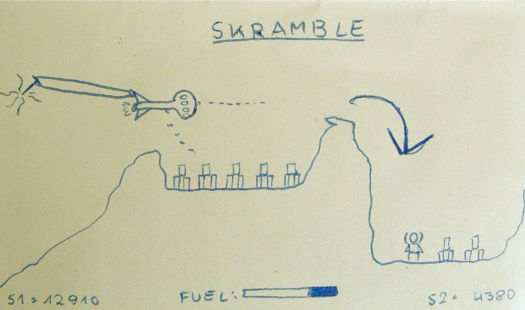 Die von mir angefertigte Zeichnung zu Skramble in der Innenhülle meiner Gauntlet-Kaufkassette. (Bild: André Eymann)