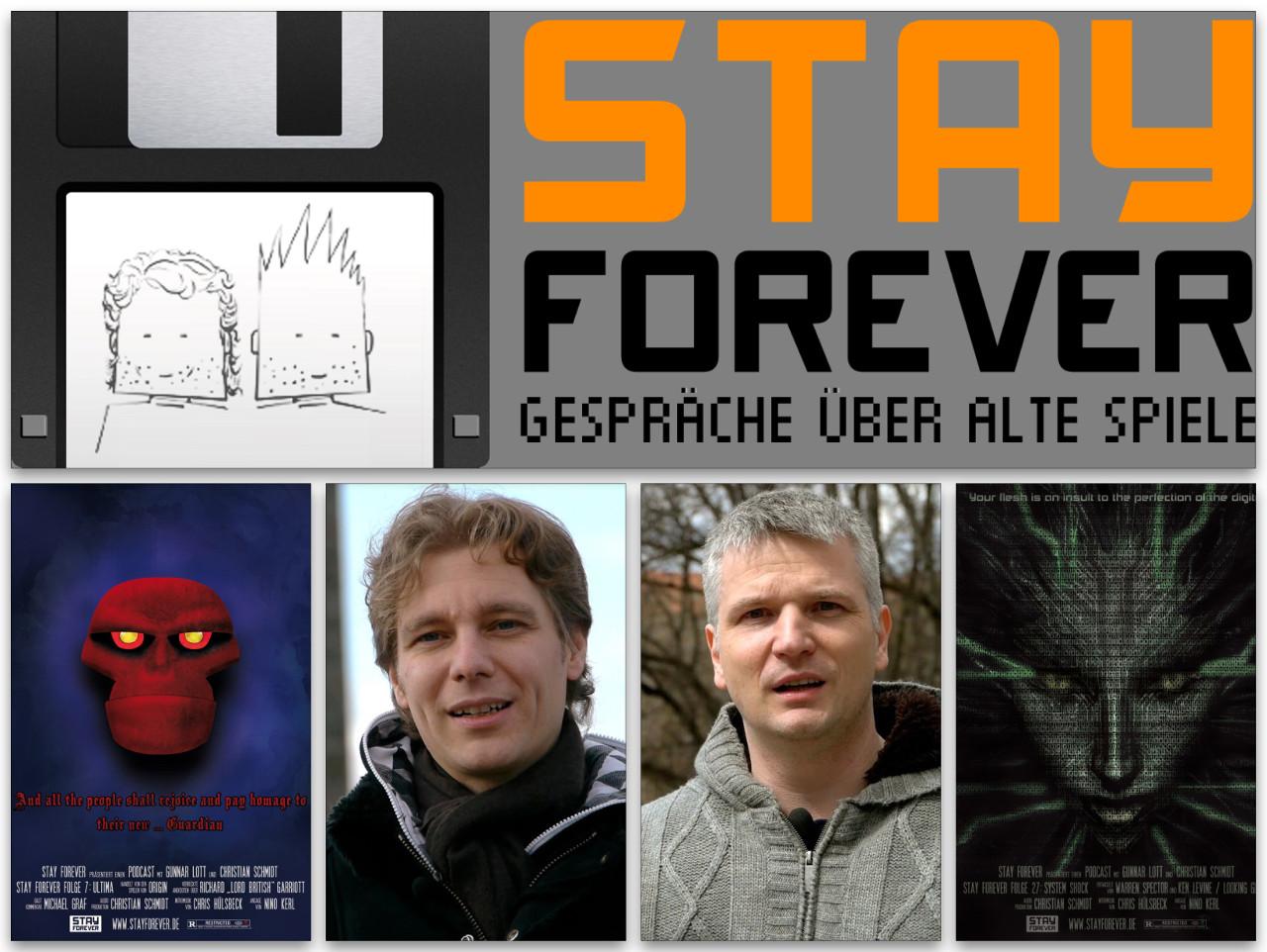 Von links nach rechts: The Guardian, Christian Schmidt, Gunnar Lott und Shodan. Die beiden in der Mitte sind schon etwas älter. Gemeinsam betreiben sie den Podcast Stay Forever. (Bilder: Podcast-Cover Paul Schmidt, Fotos: Toni Schwaiger)