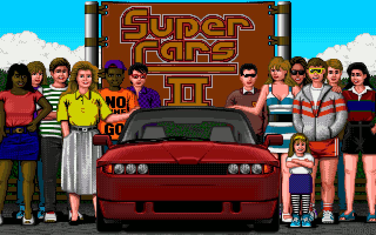 Der Startbildschirm von Super Cars II vermittelte nebenbei einen guten Eindruck vom britischen Modegeschmack der frühen 90er. (Bild: Stephan Ricken)