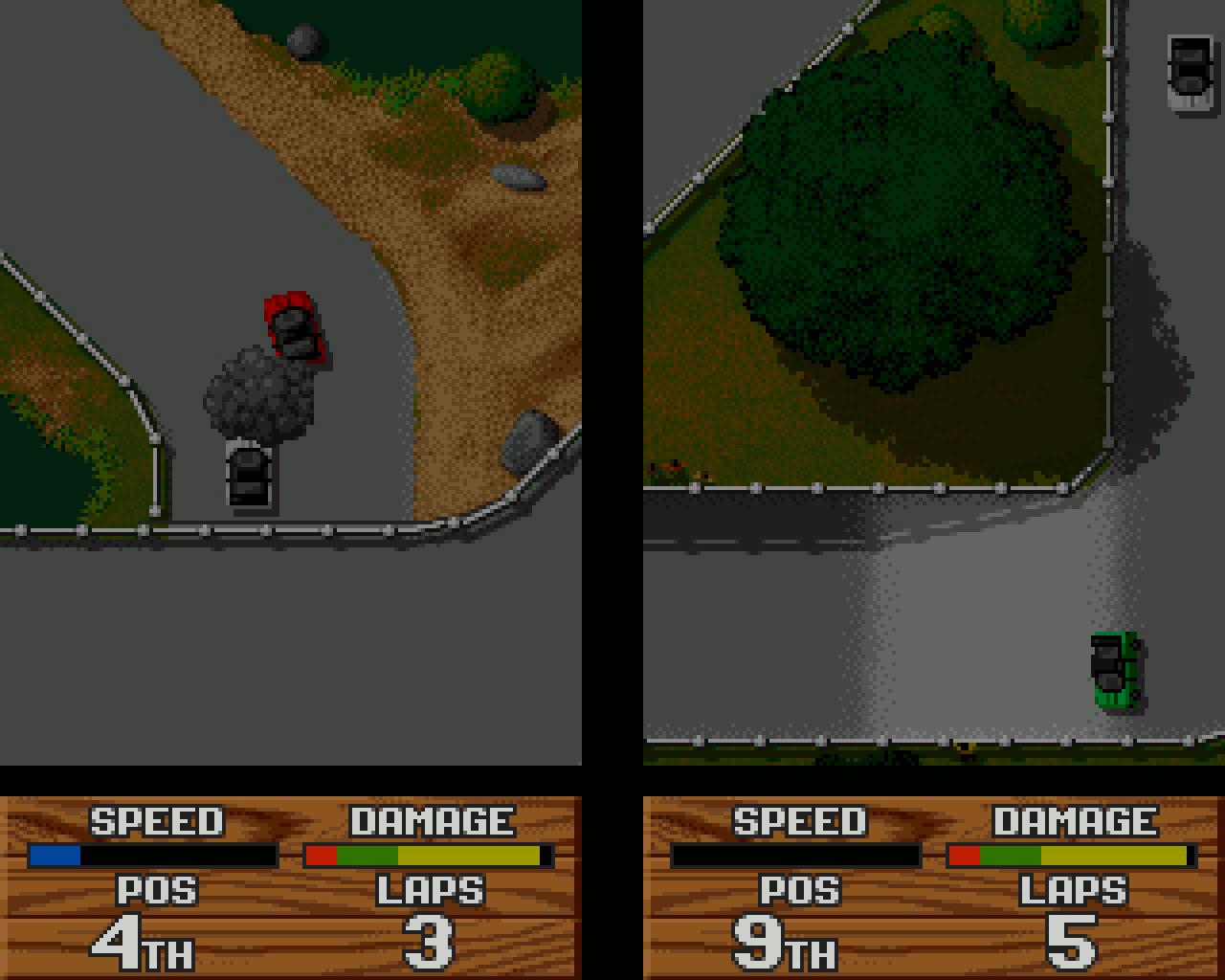 Der vertikal (statt wie sonst üblich horizontal) geteilte Bildschirm im Split-Screen-Modus von Super Cars II ist eine Ausnahmeerscheinung, die aber hervorragend funktionierte. (Bild: Stephan Ricken)
