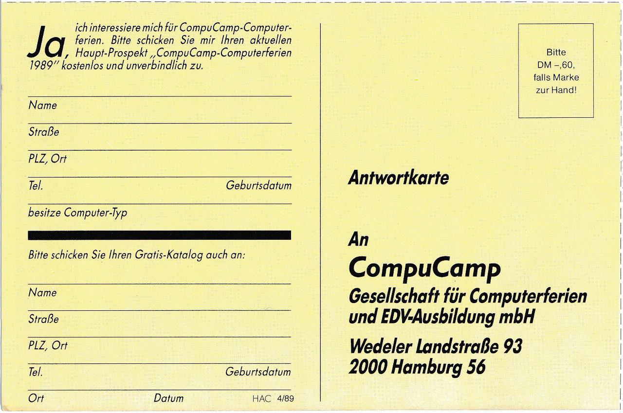 """Antwortkarte für die Zusendung des Prospekts """"CompuCamp-Computerferien 1989"""" (Bild: WEKA)"""