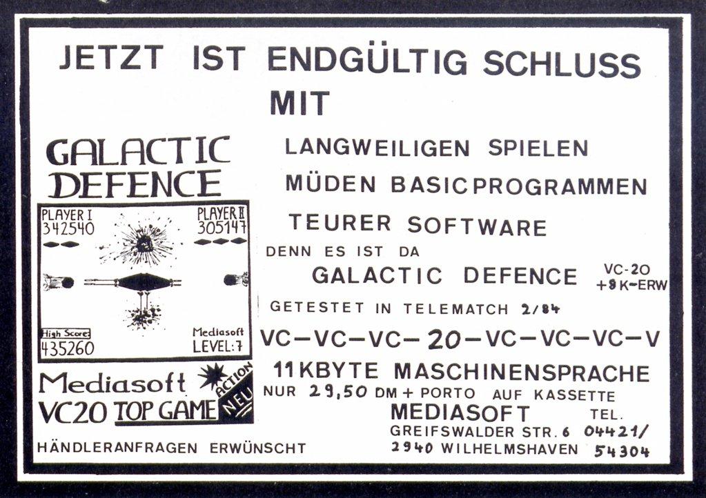 """Anzeige für """"Galactic Defence"""" von Mediasoft. (Bild: Vogel-Verlag)"""