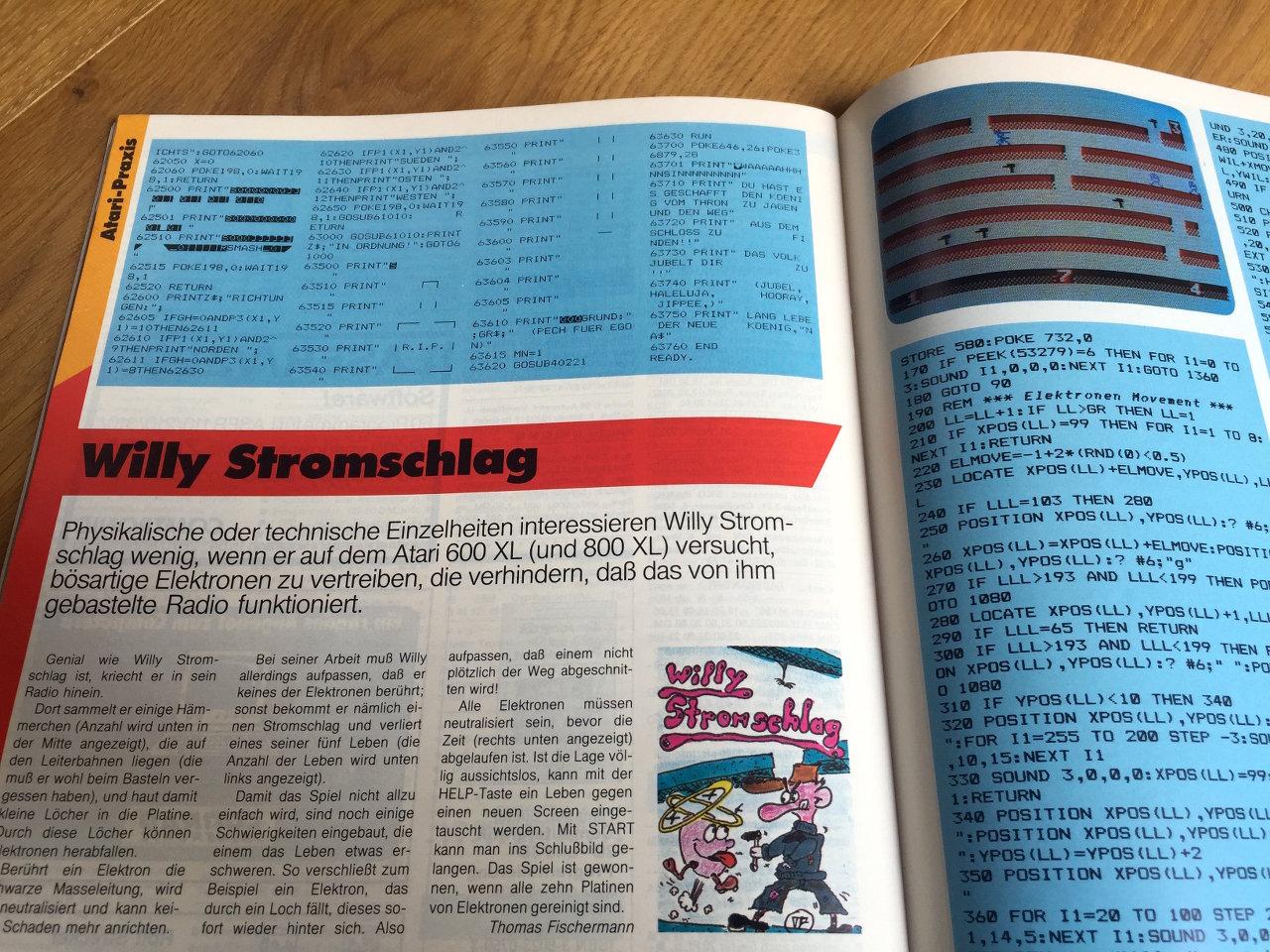 """Und immer wieder Listings. """"Willy Stromschlag"""" für den Atari Homecomputer von Thomas Fischermann. (Bild: André Eymann)"""