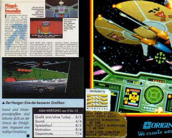 """Power Plays Richard Eisenmenger stellt in der Wing Commander-Vorschau """"Flügelfreundin"""" die Frage, ob überhaupt Turbokarten von der Amiga-Version unterstützt werden könnten. Auf der Packung wurde dann speziell auf die Unterstützung """"schnellerer"""" Computer hingewiesen. Power Play-Redakteur Christian von Duisberg sollte den Amiga-Wing Commander schließlich mit 38% abstrafen - dass die Umsetzung wohl spielbar und spannend war mit zugeschaltener Turbokarte wurde in einem Nebensatz erwähnt. Ulrich Mühe trennt hingegen im ASM-Test fairerweise die Endwertung in die unbeschleunigte und beschleunigte Version. Dass die angekündigten Mission Disks Special Operations 1 und 2 niemals erschienen läßt erahnen, dass diese der Amiga-Wing Commander weder Origins Kassen füllen noch die Turbokarten-Benutzerbasis stärken konnte. (Bild: Andreas Wanda)"""