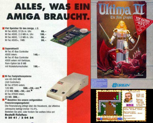 Alles was Lord British braucht: Angesichts der großen Popularität der Ultima-Reihe veröffentlichte Origin auch das grafiklastige Ultima VI - The False Prophet für den Amiga. Eine Kooperation mit Erweiterungsexperte M-Tec hätte auch Entwicklern mehr Zuversicht gegeben, Commodores klassische 16-Bit Plattform langfristig zu unterstützen. (Bild: Andreas Wanda)