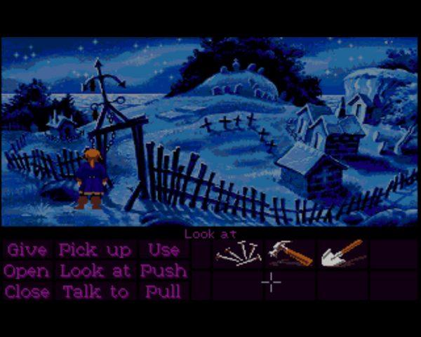 Monkey Island 2 wurde auf dem Amiga ohne Begleitmusik ausgeliefert. Legendär für Festplatten-lose Amiga-Besitzer der Besuch auf dem Friedhof, der stets nach Diskette 3 fragt, um das Geräusch und die Animation der Friedhofsglocke und der aufgescheuchten Fledermäuse auf den Bildschirm zu zaubern. Mehr MHz, Festplatte und RAM verbingen wahre Wunder. (Bild: Andreas Wanda)