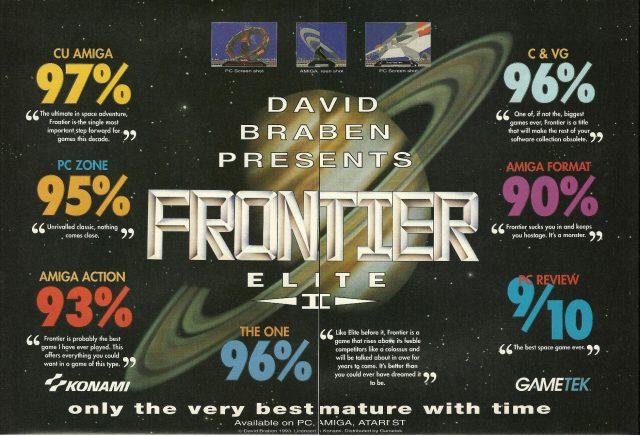 """""""Nur die Allerbesten reifen mit der Zeit"""" verkündet die doppelseitige Frontier - Elite II Werbung. Frontier wurde auch auf dem Amiga prinzipiell gut bewertet, aber Commodores einst edle 16-Bit Plattform konnte nicht mehr über das Heimcomputer-Konzept hinaus heranreifen. Die reichen Erweiterungsmöglichkeiten wurden vom Markt ignoriert, der """"alte"""" Amiga durch einen """"neuen"""" PC ersetzt als Spielemaschine der Zukunft. (Bild: Andreas Wanda)"""