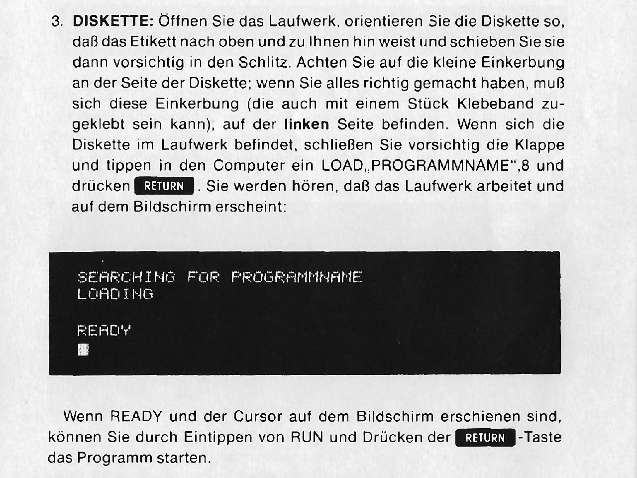 Die ominöse Seite der C64 Anleitung, welche meinen Vater fast in den Wahnsinn trieb. (Quelle: Commodore 64 Microcomputer Handbuch)