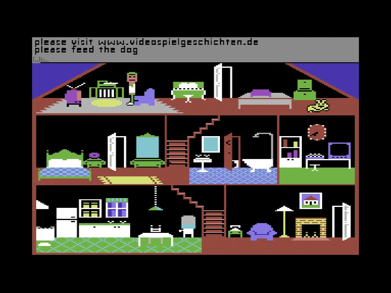 """""""Little Computer People"""" von Activision war eine Art Sims für den Commodore64 mit Texteingaben– aber immer schön bitte sagen! (Screenshot: Little Computer People)"""