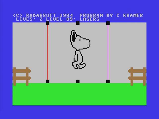 Snoopy von Radarsoft wurde trotz oder vielleicht gerade wegen des relativ einfachen Schwierigkeitsgrades recht oft im Hause Brodecky gespielt. (Screenshot: Snoopy)