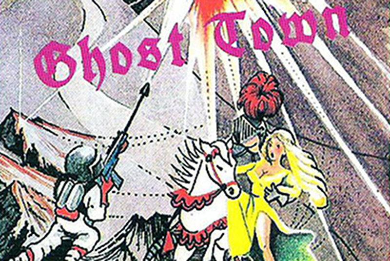 Finden Sie den sagenumwobenen Schatz. Ausschnitt aus dem fantasievollen Kassetten-Cover von Ghost Town für den Commodore 16. (Bild: Kingsoft)