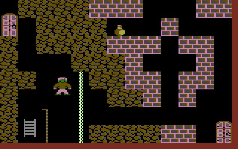 In Ghost Town muss der Spieler 19 unheimliche Hires-Räume überleben. Screenshot vom Commodore 16. (Bild: Ingo Hinterding)